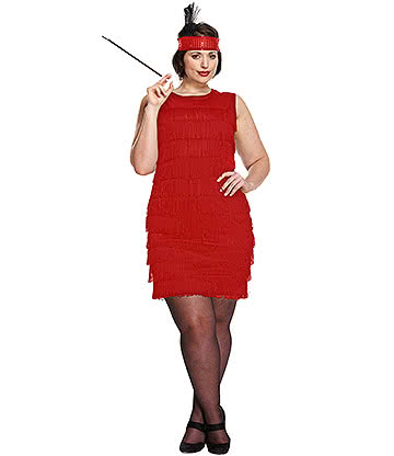 Blue Banana Flapper Girl Plus Size Fancy Dress Costume (Red)