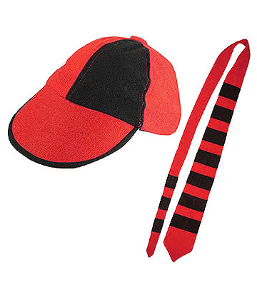 Blue Banana Schoolboy Cap & Tie Set (Black/Red)