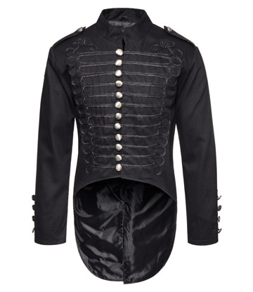 Golden Steampunk Military Tail Coat (Black)
