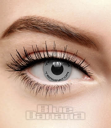Terminator Text 90 Day Coloured Contact Lenses (Grey)