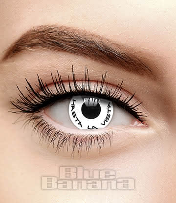Hasta La Vista Terminator 90 Day Coloured Contact Lenses (White)