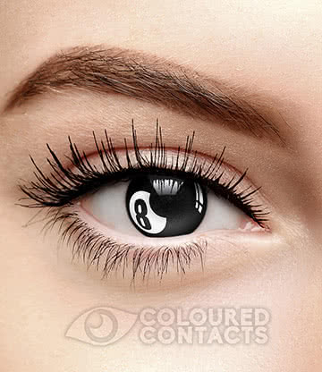 8 Ball 90 Day Coloured Contact Lenses (Black/White)