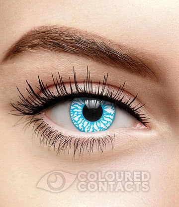 Bloodshot 90 Day Coloured Contact Lenses (Blue/White)