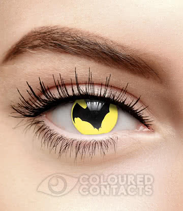 Bat Symbol 90 Day Coloured Contact Lenses (Black/Yellow)