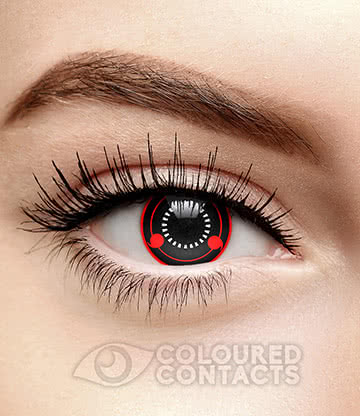 Hatake Kak 90 Day Coloured Contact Lenses (Black/Red)