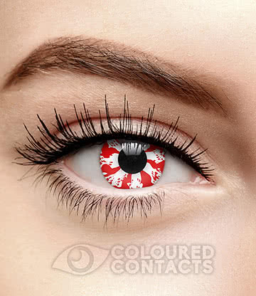 Bastard 90 Day Coloured Contact Lenses (White/Red)