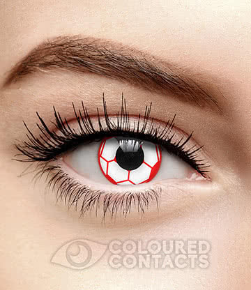 Football 90 Day Coloured Contact Lenses (Red/White)