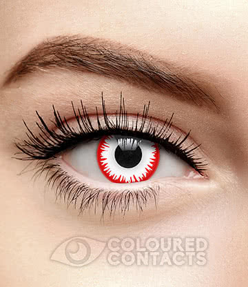 Bezerker 90 Day Coloured Contact Lenses (Red/White)