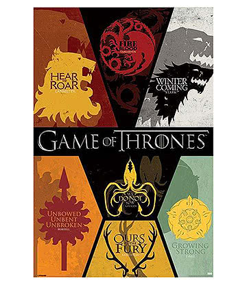 Game Of Thrones Sigils Poster Affiche Officielle Le Trône De Fer (Multicolore)