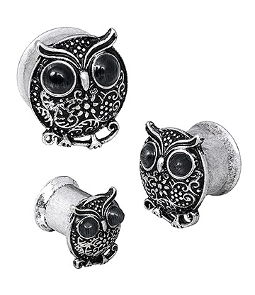 Blue Banana Surgical Steel Owl Plug 6-20mm (Silver)