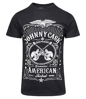 Official Johnny Cash American Rebel T Shirt (Black)