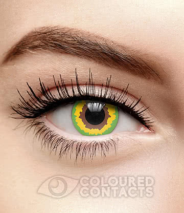 Mad Hatter 90 Day Coloured Contact Lenses (Green/Yellow)