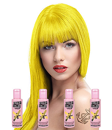Crazy Color Semi-Permanent Hair Dye 4 Pack 100ml (Canary Yellow)