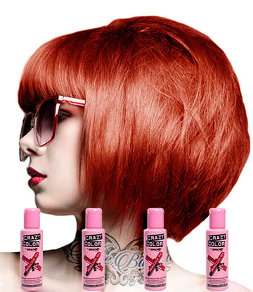 Crazy Color Semi-Permanent Hair Dye 4 Pack 100ml (Vermillion Red)