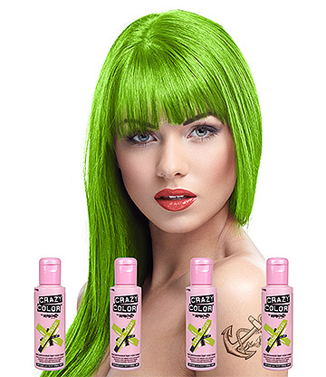 Crazy Color Semi-Permanent Hair Dye 4 Pack 100ml (Lime Twist)