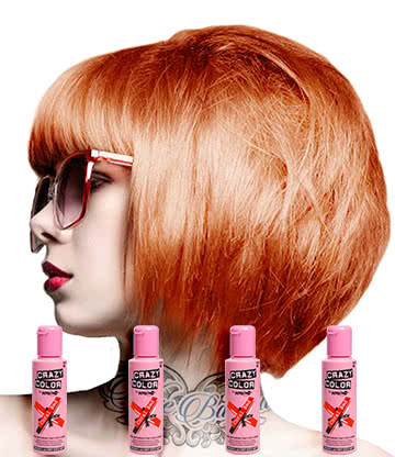 Crazy Color Semi-Permanent Hair Dye 4 Pack 100ml (Coral Red)