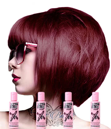Crazy Color Semi-Permanent Hair Dye 4 Pack 100ml (Bordeaux Red)