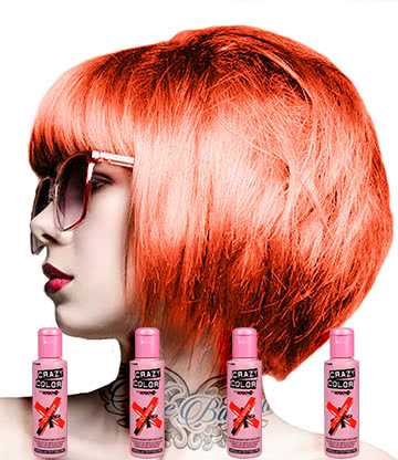 Crazy Color Semi-Permanent Hair Dye 4 Pack 100ml (Orange)