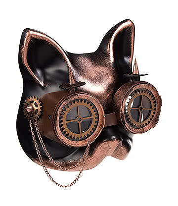 Blue Banana Steampunk Cat Face Gears & Goggles (Copper/Black)