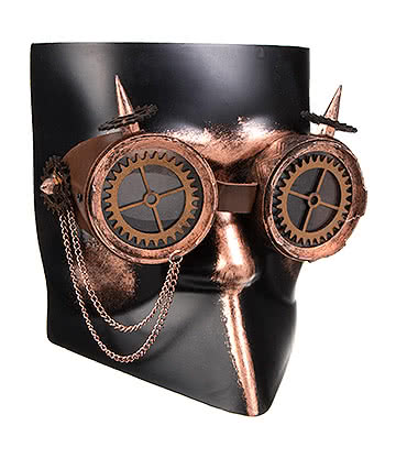 Blue Banana Steampunk Venetian Gear Goggles Mask (Black/Copper)