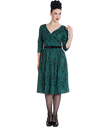 Hell Bunny Sherwood 50s Dress (Green)