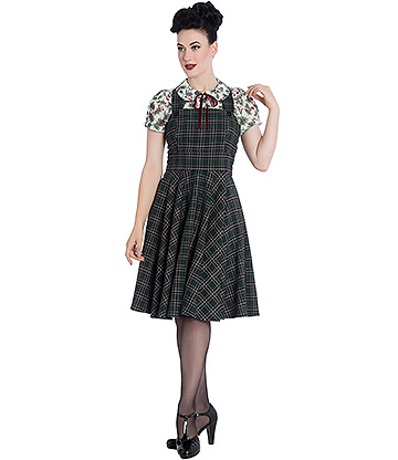 Hell Bunny Peebles Pinafore Dress (Green)