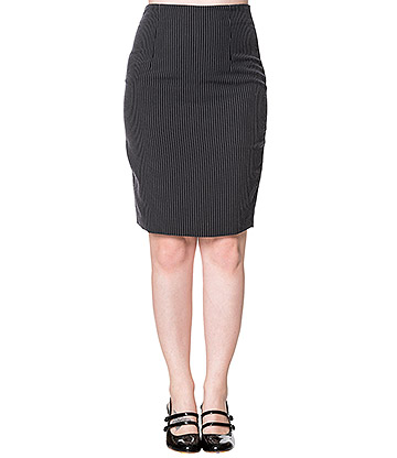 Banned Romance Pinstripe Skirt (Black)