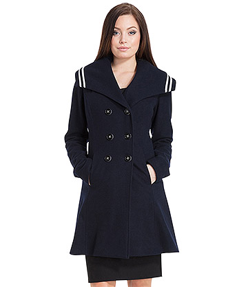 Voodoo Vixen Jennifer Nautical Coat (Navy Blue)