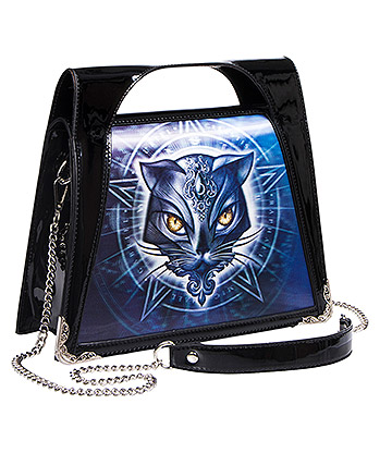 Alchemy Gothic 3D Cat Face Handbag (Black)