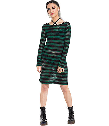 Jawbreaker Forest Stripes Dress (Black/Green)