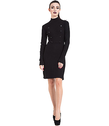 Jawbreaker Military Knit Dress (Black)