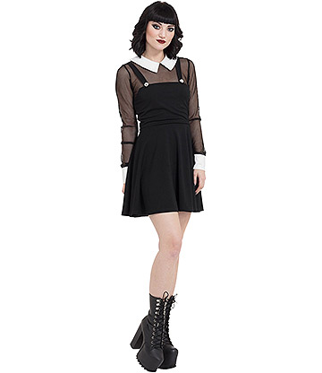 Jawbreaker Fishnet Collar Dress (Black/White)