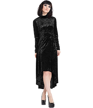 Jawbreaker High & Low Velvet Dress (Black)