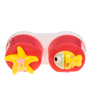 Coloured Contacts Fish Lens Case (Dark Pink)