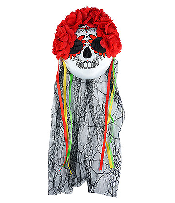 Blue Banana Day of The Dead Veil and Flowers Mask (Multicoloured)