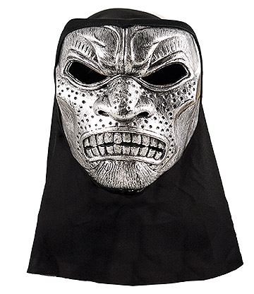 Blue Banana Metallic Warrior Mask With Hood (Silver/Black)