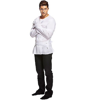 Blue Banana Straight Jacket Fancy Dress Costume (White)