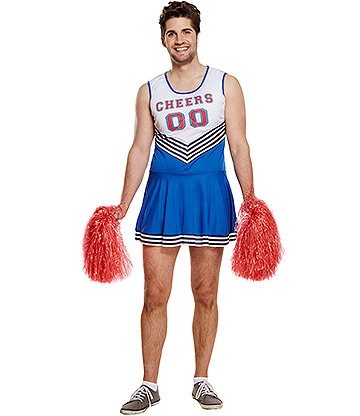 Blue Banana Cheerleader Male Fancy Dress Costume (Blue)