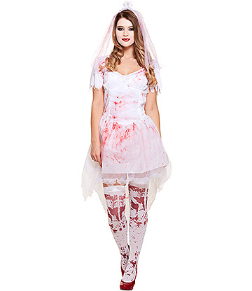 Blue Banana Bloody Bride Fancy Dress Costume (White)