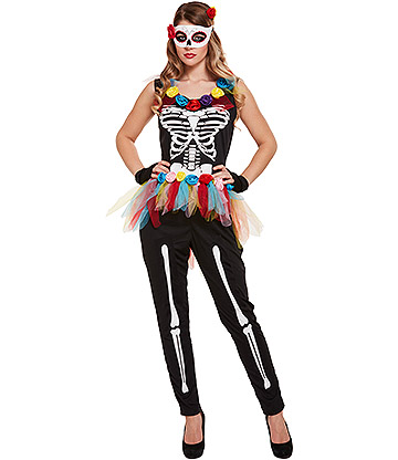 Blue Banana Day of the Dead Fancy Dress Costume (Multicoloured)