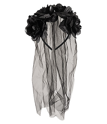 Blue Banana Bride Flowers and Veil Headband (Black)