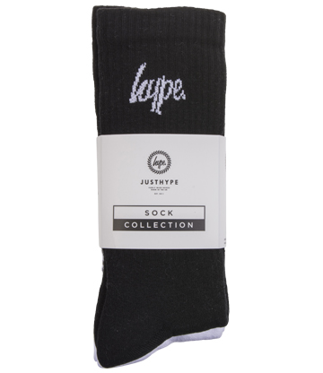 Hype Socks Pack Of 3 (Black/White)