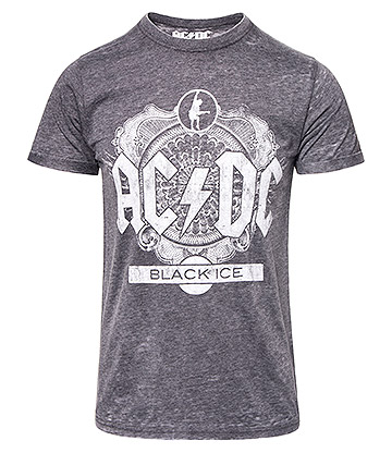 Official AC/DC Black Ice Burnout T Shirt (Charcoal)