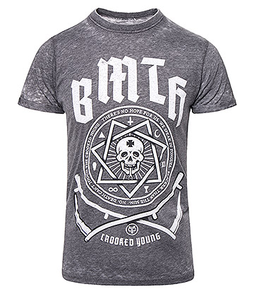 Official Bring Me The Horizon Crooked Burnout T Shirt (Charcoal)