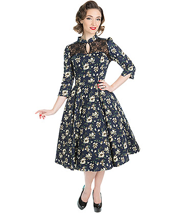 H&R Mixed Floral Dress (Navy Blue)