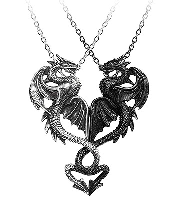 Alchemy Gothic Draconic Tryst Pendant (Silver/Black)