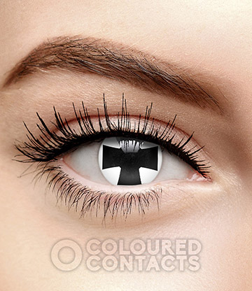 Iron Cross 90 Day Coloured Contact Lenses (Black/White)