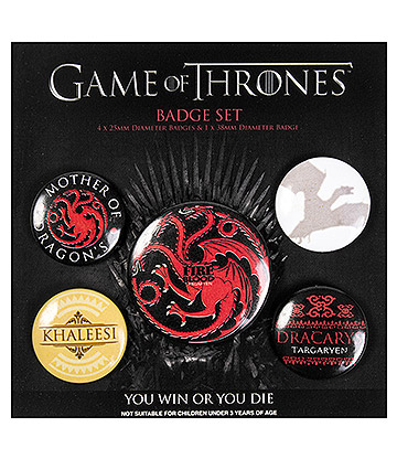 Game Of Thrones Fire & Blood Badge Pack (Pack Of 5)