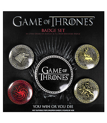 Game Of Thrones Four Great Houses Badge Set (Pack Of 5)