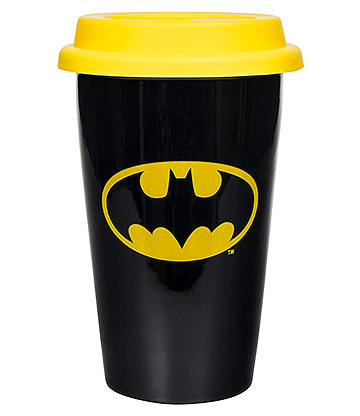 DC Comics Batman Ceramic Travel Mug (Black/Yellow)